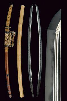 Japanese tachi with tachi koshirae, shinogi zukuri blade (nagasa 74,6 cm). Hada: kitae itame. Hamon: soshu itatsura of nie deki. Boshi: o maru hakikake. Nakago: Ubu iriyama gata, katte sagari yasuri. Mumei. Horimono: omote, kakudome hi tsure hi; ura, futatsu hi. Attirbuted to Soshu Yasuharu, Tenbun period (1532 - 1555). Elegant, 18th Century koshirae with tsuba, fuchi and kashira en suite, engraved with racemes.