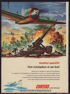 1944 WW II REPUBLIC P-47 Thunderbolt Flighter Bomber War Plane WWII WW2 AD