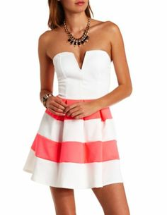 Plunging Sweetheart Striped Strapless Skater Dress: Charlotte Russe