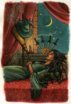 The Four of Swords tarot card represents feeling overwhelmed and anxious. It tells you to step away from the crowd and recharge your battery. Find the full Four of Swords Tarot Card via the link. Celtic Cross Tarot, Tarot Significado, Free Tarot, Tarot Card Meanings, Witch Art, Tarot Spreads, Tarot Readers, Illustration, Oracle Cards