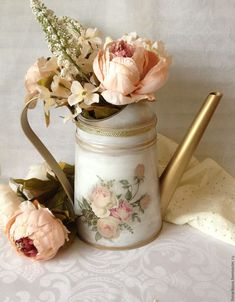 """Купить Лейка для полива цветов """"La magie des roses"""" Резерв - лейка, лейка декупаж"""