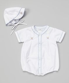 Another great find on #zulily! Blue Baseball Embroidered Romper & Bonnet - Infant #zulilyfinds