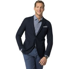 TOMMY HILFIGER Tailored Collection Cotton Blazer - Navy. #tommyhilfiger #cloth #all