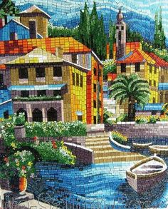 Mosaic Landscape by Reem Derbala - Mosaic Landscape Glass Art - Mosaic Landscape Fine Art Prints and Posters for Sale
