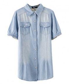 Medium Pockets Short Sleeves Denim Blouse