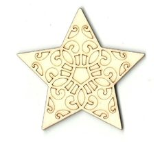 Star Unfinished Laser Cut Wood Shape XMS24