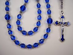 Boys Rosary Catholic 1st Communion Sapphire Blue Czech Glass Beads Primera Comunión el nino Rosario Free Shipping USA by TheGemBeadLink on Etsy