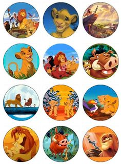LION KING Edible Image Cupcake Toppers Birthday cupcakes or any dessert Más Simba Y Nala, Lion King Simba, Disney Lion King, Lion King Theme, Lion King Party, Jungle Theme Birthday, Lion King Birthday, Birthday Ideas, Images Roi Lion