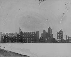 Silhouette of ruins of Haxall's mills, 1865, showing some of the destruction caused by a Confederate attempt to burn Richmond.