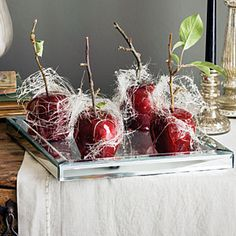 Gothic Halloween party ideas   Dessert   Sunset.com. Candied apples on a mirrored tray with spun sugar webs