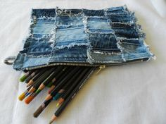 Recycled denim pencil case by Soulheartart on Etsy, $17.50 Pencil Cases, Recycled Denim, Zipper Bags, Monkeys, Sewing Crafts, Purse, Projects, Diy, Accessories
