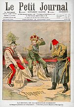Le Petit Journal - October 1908 – Bulgaria, Greece and Serbia declare war on the Ottoman Empire, joining Montenegro in the First Balkan War. seizing parts of the Balkans, in front of the Ottoman emperor World War One, First World, Journal Quotidien, Bosnia Y Herzegovina, Ww2 Propaganda Posters, Empire Ottoman, Austro Hungarian, Bulgaria, Lafayette