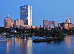 """Back Bay Skyline (just before sunset).""  Shot from Boston's Longfellow Bridge."