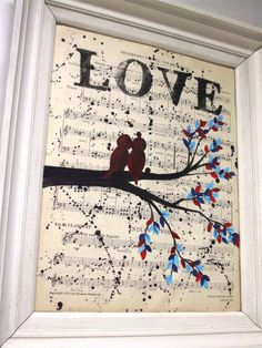 Vintage Music Sheet Love Birds Handmade Acrylic