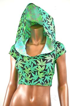UV Glow Pot Weed Marijuana Print Cap Sleeve Crop Hoodie from Coquetry Clothing. Saved to crop tops. 420 Clothing, Custom Made Clothing, Cannabis, Weed, Future Clothes, Cropped Hoodie, Swagg, Clubwear, Dress To Impress