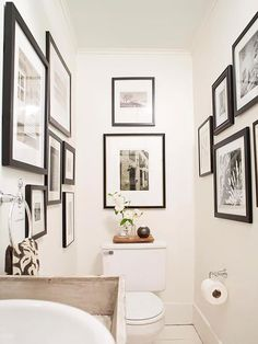 This is a wonderful idea for a small water closet! After: Art-Filled Gallery A fresh weekend bathroom makeover will take your bathroom from blah to beautiful in just two days. Learn how to make over your bathroom with easy DIY updates. Downstairs Cloakroom, Downstairs Toilet, Small Wc Ideas Downstairs Loo, Bad Inspiration, Bathroom Inspiration, Wc Decoration, Small Toilet Room, Cloakroom Toilet Small, Cloakroom Ideas