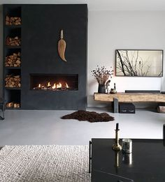 Home Fireplace, Living Room With Fireplace, Fireplace Design, Home Living Room, Living Room Designs, Living Room Decor, Living Room Inspiration, House Rooms, Home Interior Design