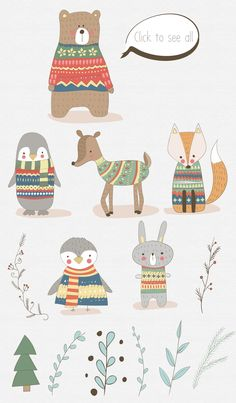 Winter Collection. Animal set by Natdzho on @creativemarket