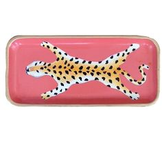 Dana Gibson Hand Painted Coral Leopard Tray #dana-gibson #dana-gibson-pillows #home-decor-pillows-throws