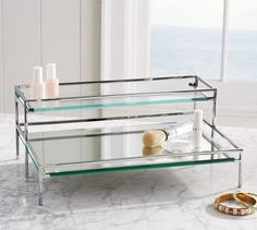 Shop for bathroom accessories at Pottery Barn and add elegance to your bathroom. Our large selection includes storage baskets, toiletry sets, laundry hampers and more. Organizer Makeup, Makeup Storage, Mirror Tray, Vanity Tray, Bathtub Tray, Makeup Room Decor, Vanity Decor, Beauty Room, Bathroom Organization