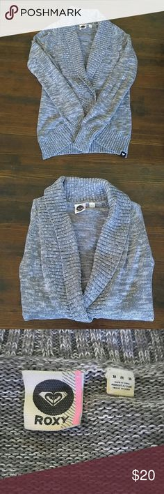 Roxy Grey Cardigan A very nice, neutral color cardigan. 100% cotton. In excellent condition! Roxy Sweaters Cardigans