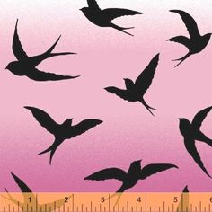 Morning Mist Swallow Bird Silhouettes Pink Fabric by The Fat Quarter | eBay - love the silhouettes, hate the pink ombre.