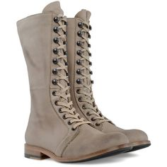 ZEHA BERLIN shoes (940 BRL) ❤ liked on Polyvore featuring shoes, boots, hisco burlywood, mid-calf boots, mid calf combat boots, army boots, mid calf lace up combat boots en combat boots