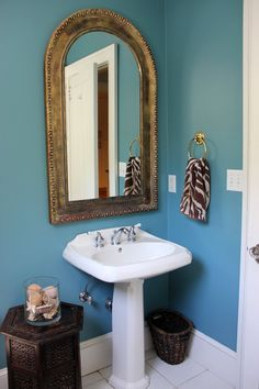 Love this bathroom … colors, brass, etc. Dan & Sommer's Work-and-Play Family Home