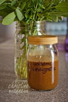 Balsamic Vinaigrette Dressing.  Uses everyday ingredients, make it in just a minute.  So easy and delicious.