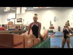 Deanna Sigler from Olympia goes through a beam drill circuit to help increase the split on leap series and jump combos. She used this circuit during the Gymnastics Warm Ups, Gymnastics Levels, Gymnastics Lessons, Gymnastics Camp, Gymnastics Floor, Gymnastics Tricks, Tumbling Gymnastics, Gymnastics Coaching, Gymnastics Training