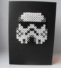 Hama beads stormtrooper - birthday card for my Star War's mad son!