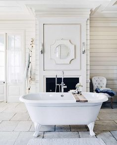 Canterbury Freestanding Bath Is The Perfect Place To Unwind While An All White Scheme Soft Linen And Nature Inspired Accessories Help Create Calm