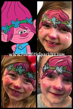 Trolls the movie inspired face painting