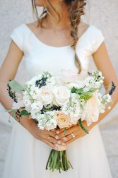 Peach Ivory champagne and Blue Bouquet | photography by http://rebekahwestover.com/