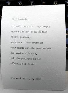 Sag mir ein Wort und ich schreib dir ein Gedicht.