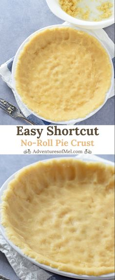 Easy Shortcut No-Roll Pie Crust - Adventures of Mel Easy Shortcut No-Roll Pie Crust recipe perfect for fruit pies, custard pie, and more. Made with oil, mix and press into a pie plate for a delicious homemade crust. Easy Pie Recipes, Pie Crust Recipes, Tart Recipes, Easy Pie Crust Recipe With Oil, Custard Pie Recipe Easy, Pie Crust With Oil, Press In Pie Crust Recipe, Sweet Pie Crust Recipe, Pie Fillings
