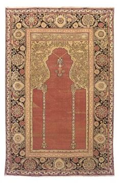 KULA PRAYER RUG  WEST ANATOLIA, FIRST HALF 18TH CENTURY  Areas of wear, corroded black, scattered repiling, selvages repaired, both ends rewoven 6ft. x 3ft.11in. (183cm. x 119cm.)