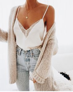 Cute And Comfy Pastel Pink Cardigan With A Hint Of Coral, Light High Waist Denim And Basic White Lace Top With V Neckline. As Accessoires/Jewelry A Gold Minimalistic Necklace With Round Plate Pendant. Camisole Top, Shoulder, Tank Tops, Halter Tops, Muscle Shirts
