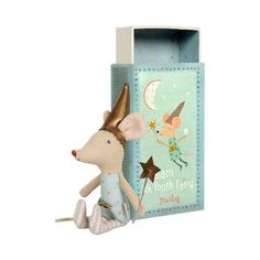 Tooth Fairy Boy Mouse in Box- old style- one left-At night the tooth fairy spreads fairy dust, collects baby teeth, brings treats, and always makes sure you have sweet dreams. Dressed magically in his blue starred outfit, the tooth fairy boy mouse co Cute Tooth, Matchbox Art, Matchbox Crafts, Messy Room, Fairy Dust, Tooth Fairy, Kids Toys, Boy Or Girl, Sewing Projects