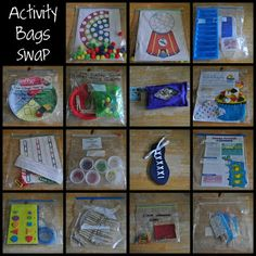 *Rainbow and Bubble Gum pom-pom sort Numbers with pony beads Shape and color match The Color Match Game I Spy Bags Build-a-Cupcake *Links for colors and sequencing Pony bead sorting and counting Shoe lacing Assorted card and activity games Lacing shape match ABC Wheel with matching clothespins Paper clip and color swatch matching Popsicle memory