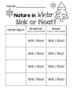 Nature in Winter - Sink or Float Worksheet Science Activities, Science Experiments, School Themes, School Ideas, Sink Or Float, Free Preschool, Eyfs, Winter Theme, Teacher Newsletter