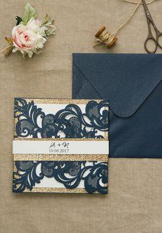 navy blue and glitter gold laser cut wedding invitations