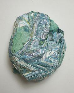 "Hilary Harnischfeger ~ ""Untitled"" (2010) paper, plaster, pigment, ink, crushed glass, apophyllite, 7.5 x 6 x 3.5 inches  via Rachel Uffner Gallery"