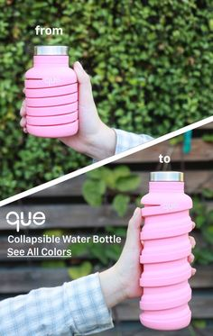 que Bottle One bottle TWO sizes. que Bottle is the collapsible bottle designed in your energetic life-style One bottle TWO sizes. que Bottle is the collapsible bottle designed in your energetic life-style Objet Wtf, Que Bottle, Collapsible Water Bottle, Cute Water Bottles, Drink Bottles, Take My Money, Cool Inventions, Bottle Design, Kitchen Gadgets