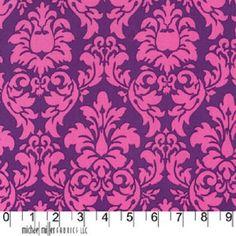 Michael Miller Fabric, Dandy Damask in Princess, Purple and Pink Designer Fabric 1 Yard