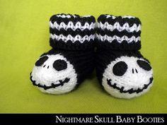 Jack Skellington Baby Booties pattern by Aunt Janet's Designs Goth Nightmare Skull Baby Booties Baby Sizes - Booties Baby Booties Knitting Pattern, Crochet Baby Booties, Baby Knitting, Knitting Patterns, Loom Knitting, Jack Skellington, Crochet Shoes, Crochet Slippers, Goth Baby