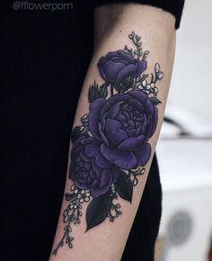 Purple flower tattoo