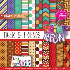 Tiger's Patterns, Tiger Digital Paper, characters, clipart, clip art, PNG, red, brown, orange, beige, swetter, owl