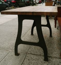Industrial Butcher Block Table -- ooooh
