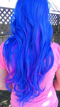 20% OFF SALE Blue and Neon Violet / Long Curly Layered Wig Mermaid Hair Lolita Natural Scalp Piece